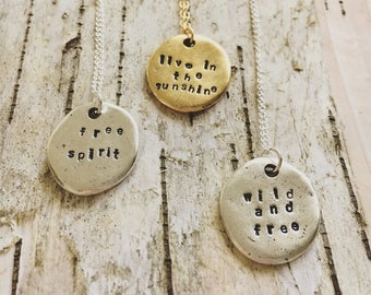 Hand-stamped charm necklace