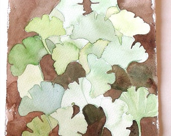 Ginkgo leaves watercolour painting, Brown green Ginkgo illustration, Botanical artwork, Small watercolours 7x11, Nature wall art, gift her