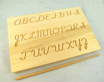 Travel Size Dual Sided Cursive Alphabet Cursive Tracing Rubbing board with wooden stylus - Montessori Cursive Alphabet -