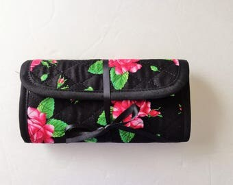 Quilted Crochet Hook Case Black Red Roses Quilted Bag