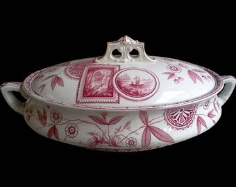 Antique Perak Covered Tureen, Red Transferware, Covered Dish, Casserole, Aesthetic Movement, Floral Serving Dish, Tableware, 1800s