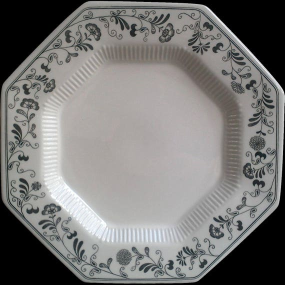 """Vintage Black and White, Independence Ironstone, Plate, Millbrook Pattern, Serving, Octagon, Entertaining, 10"""" Dinner Plate"""