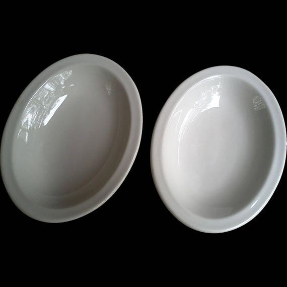 Antique Ironstone Shenango China Oval Shallow Bowls ~ White ~ Pair