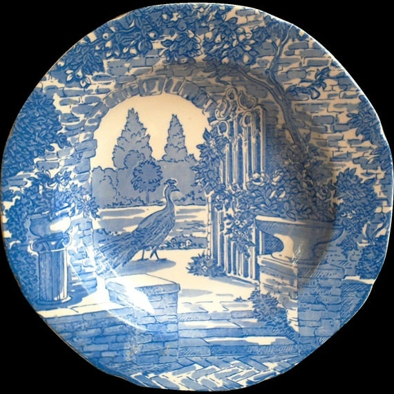Blue Transferware Bowl, Burgess and Leigh, Stoke on Trent, Cereal Bowl, Kitchen, English Transferware, Serving Bowl