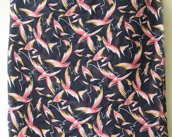 Black Sheer Polyester Georgette abstract birds Print Fabric