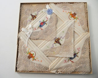 Lovely 1950's Swiss Embroidered Handkerchiefs. Set Of 6. Pinned In Original Box.