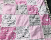 Baby Shower Quilt Kit - Baby Shower Gift - Pink Gray Baby Girl Quilt - Pink Baby Girl Blanket - Newborn Gift - Safari Baby Quilt