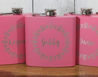 Flask/Engraved/Bridesmaid/Maid of Honor/Bachelorette Party/Flask/Color Choice/Personalized/FL00014