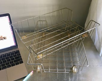 vintage metal wire baskets paper tray gold rustic industrial pair of 2 in out baskets