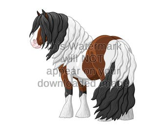 Bay Pinto Gypsy Vanner Draft Horse Clipart for Shirts Invitations Greeting Cards Posters Scrapbooking Decoration Digital Download