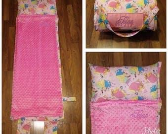 Girls Princess Nap Mat Pink Minky Blanket