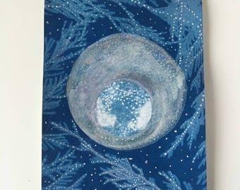 Two Moons - Original Sun Print, Cyanotype Art