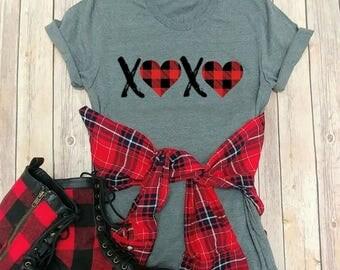 Valentine's Day T shirts, Buffalo Plaid, Love, Graphic Tees