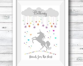 Rainbow Unicorn Print, Reach for the Stars, Unicorn Star Print, Nursery Decor, Nursery Quote Print, A4 Print Childrens' Room, Artwork