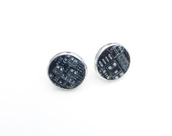 Gothic motherboard earrings silver studded computer circuitry circuit board Goth matt