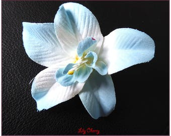 Flower Orchid artificial blue and white x 1 hair clip