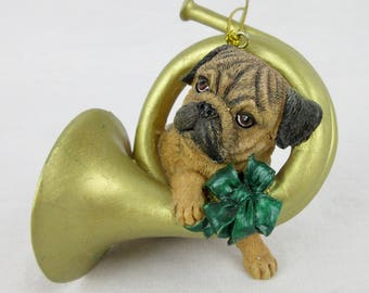 Vintage Pug Puppy Christmas Tree Ornament / French Horn  / Gift for Dog or Pug Lover, Owner / Danbury Mint Pugs and Kisses