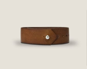 Lonford Button Stud Watch Strap 20mm Full Grain, Vegtan Leather, Pass trough for any watch