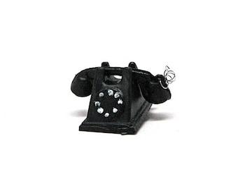 Dollhouse Phone, Rotary Phone, Telephone, Miniature, Vintage, Retro, Plastic, Dollhouse Accessory, 1:12 Scale
