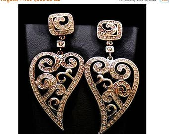 ON SALE 10% OFF Pave Diamond jewelry-Victorian Inspired Heart Shape Earrings
