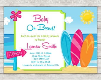 Surf Baby Shower Invitation, Surfing Surfer Girl Invite - Printable File or Printed Invitations