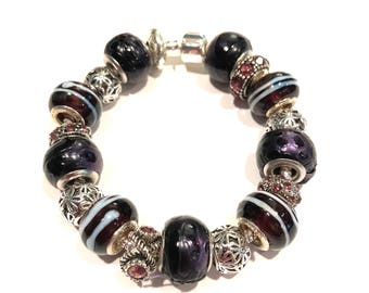 Purple Leather and Glass Beads w Silver and Glass Charms Euro Style Bracelet