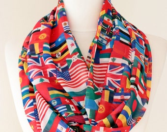 World Flags Scarf Infinity Scarf Travel Gift Spring Summer Fall Winter Fashion Session Gift Idea For Her outdoors gift clothing gift