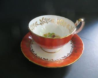Aynsley Rust Burnt Orange Teacup Saucer Fine English Bone China