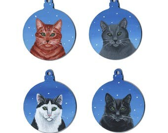 Cat Christmas Snowy Festive Wooden Baubles - Hand Painted in Acrylics on Wood - Featuring Ginger, Grey/Blue, Black and White and Black Cats