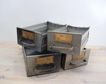 Industrial Metal Box,  Hardware Parts Bin, Storage Drawer, Gray