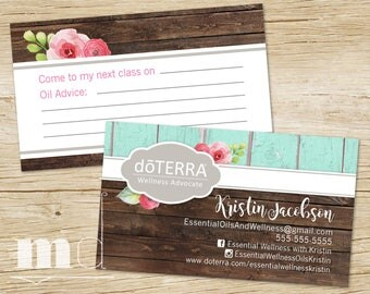 DoTerra Business Card, Essential Oils Small Business Rustic Wood Design Branding, doTerra Marketing, Oil Class Advice Fill Card, PRINTABLE