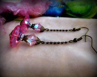 Vintage, Earrings, Pink, Victorian, Beaded, Handmade, Shabby Chic
