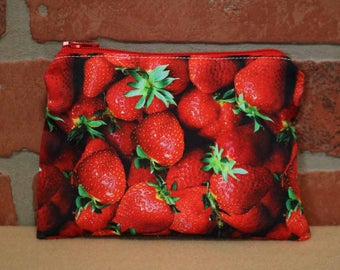 One Snack Sack, Reusable Lunch Bag, Waste-Free Lunch, Machine Washable, Strawberries, Back to School, School Lunch, item #SS86