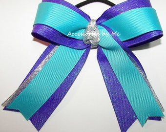 Gymnastics Bow, Turquoise Silver Purple Ribbons, Sparkly Gymnastic Bow Clip, Gymnast Hair Ties Elastics, Bulk Cheap Glitter Dance Cheer Bows