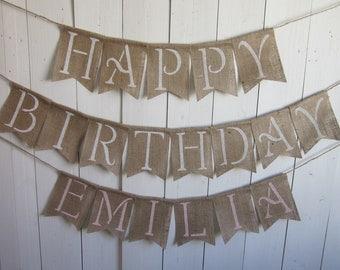 Large Happy Birthday Banner - Rustic Chic Birthday Bunting - Burlap Happy Birthday Decor - Large Size Birthday Garland - Birthday Banner