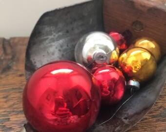 Set of 6 Vintage Christmas Ornaments / Vintage 1940s Christmas / Vintage Red, Gold and Silver Glass Christmas Bulbs