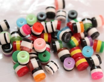 150 resin beads striped striped multicolored column 6mm