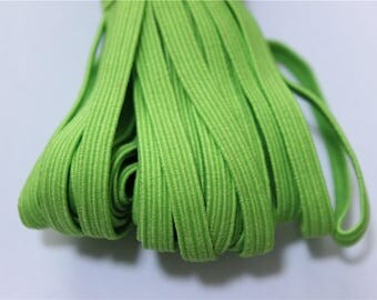 elastic Ribbon 5 meters flat lime green color