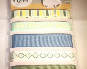 Assortment of ribbons Rayher 5x90cm (stripes, plain, blue, green and white wide with border)
