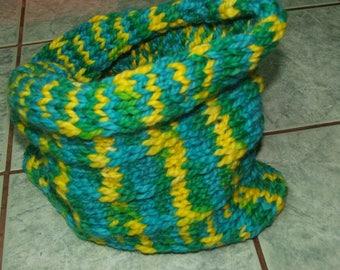 Snood green and yellow - handmade-