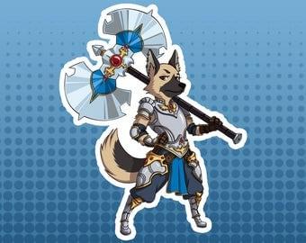 Warrior / Fighter - German Shepherd Dog Fantasy Role Playing RPG Class - Large Die Cut Vinyl Sticker, Original Sticker, Original Design