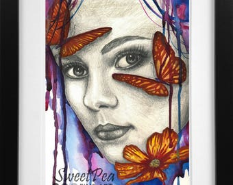 Watercolor Art Print - Free Thought Mixed Media Modern Butterflies and Flower Portrait Painting