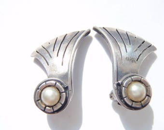 1940s William Spratling Earrings - Vintage Taxco Sterling, Mexican Silver Jewelry, Bride Earrings, Bridal Wedding Accessory