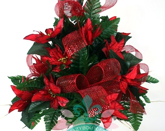 Beautiful XL Christmas Red Poinsettias With Deco Mesh Cemetery Vase Arrangement