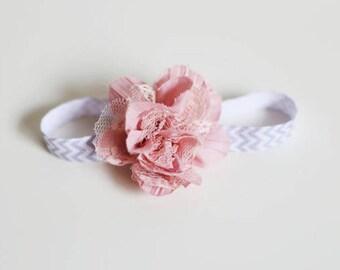 Baby girl elastic headband, gray chevron pink flower headband, Baby girl headband, infant headband, Newborn photo prop, Baby shower gift