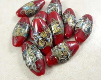 Lampwork Beads - Dark Red Oval Lampwork Beads, Marquis Shaped Lampwork - 30mmx17mm - Qty 3