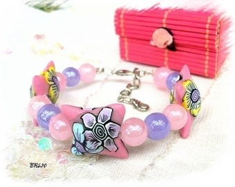 Pink bracelet BR530 polymer clay and glass beads