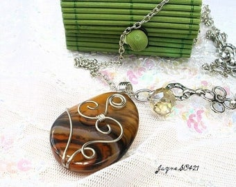 Long necklace with caramel agate * Jayne SO421 *.