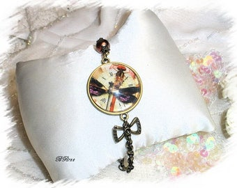 bracelet in antique bronze steampunk style and Pearl BR722