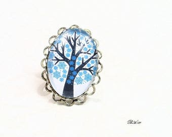 Blue tree of life ring lace adjustable BA139